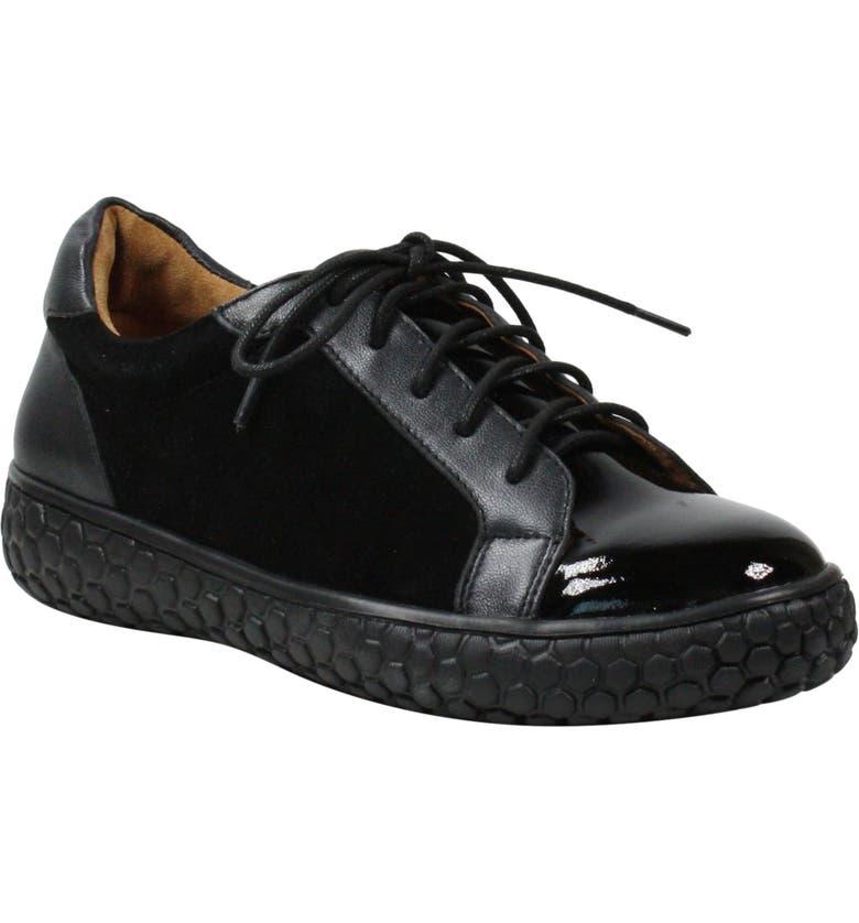 L'AMOUR DES PIEDS Zoyya Sneaker, Main, color, BLACK LEATHER