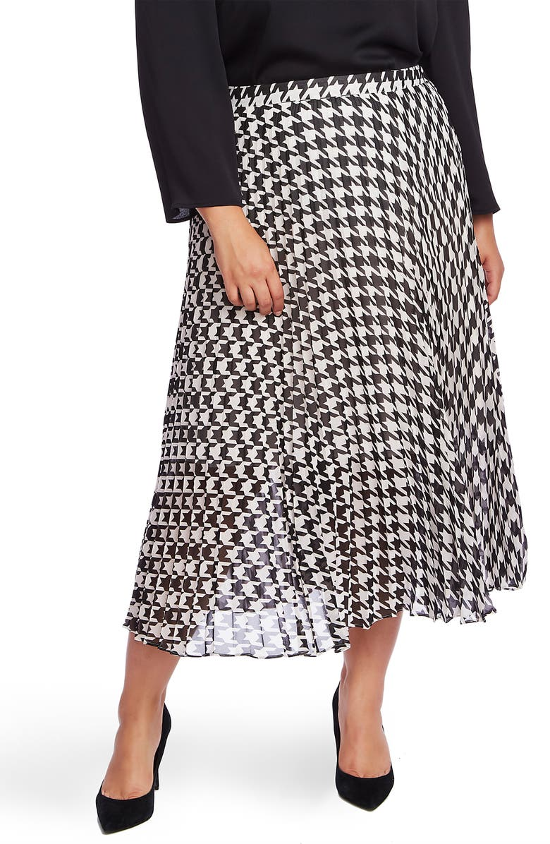 VINCE CAMUTO Houndstooth Pleated Midi Skirt, Main, color, RICH BLACK