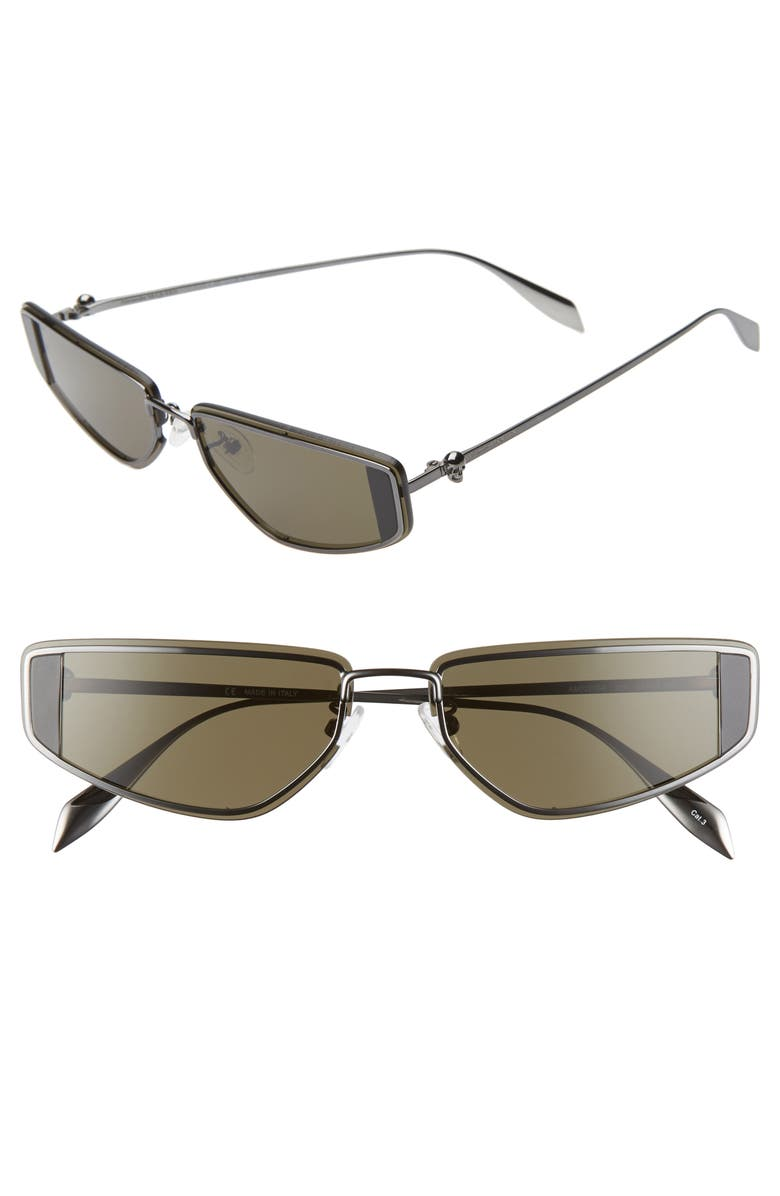 ALEXANDER MCQUEEN 65mm Sport Sunglasses, Main, color, RUTHENIUM