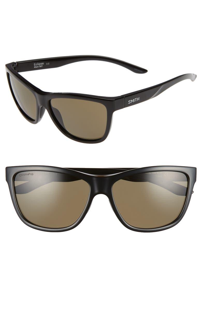 SMITH Eclipse 58mm ChromaPop<sup>™</sup> Polarized Sunglasses, Main, color, BLACK/ GREY