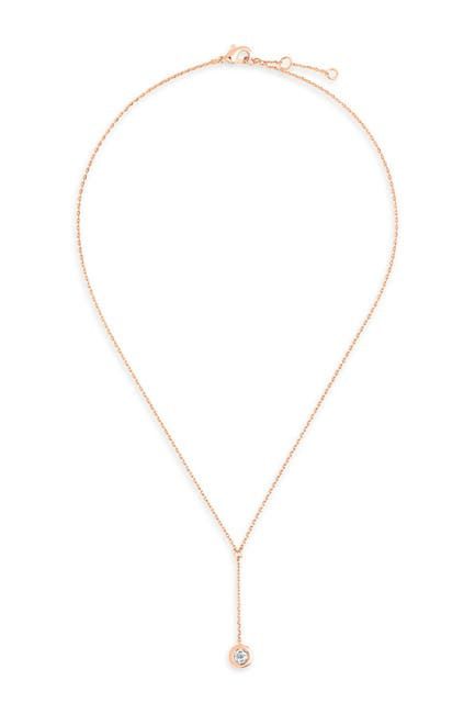Image of Sterling Forever 14K Rose Gold Vermeil Plated Sterling Silver CZ Y Drop Necklace