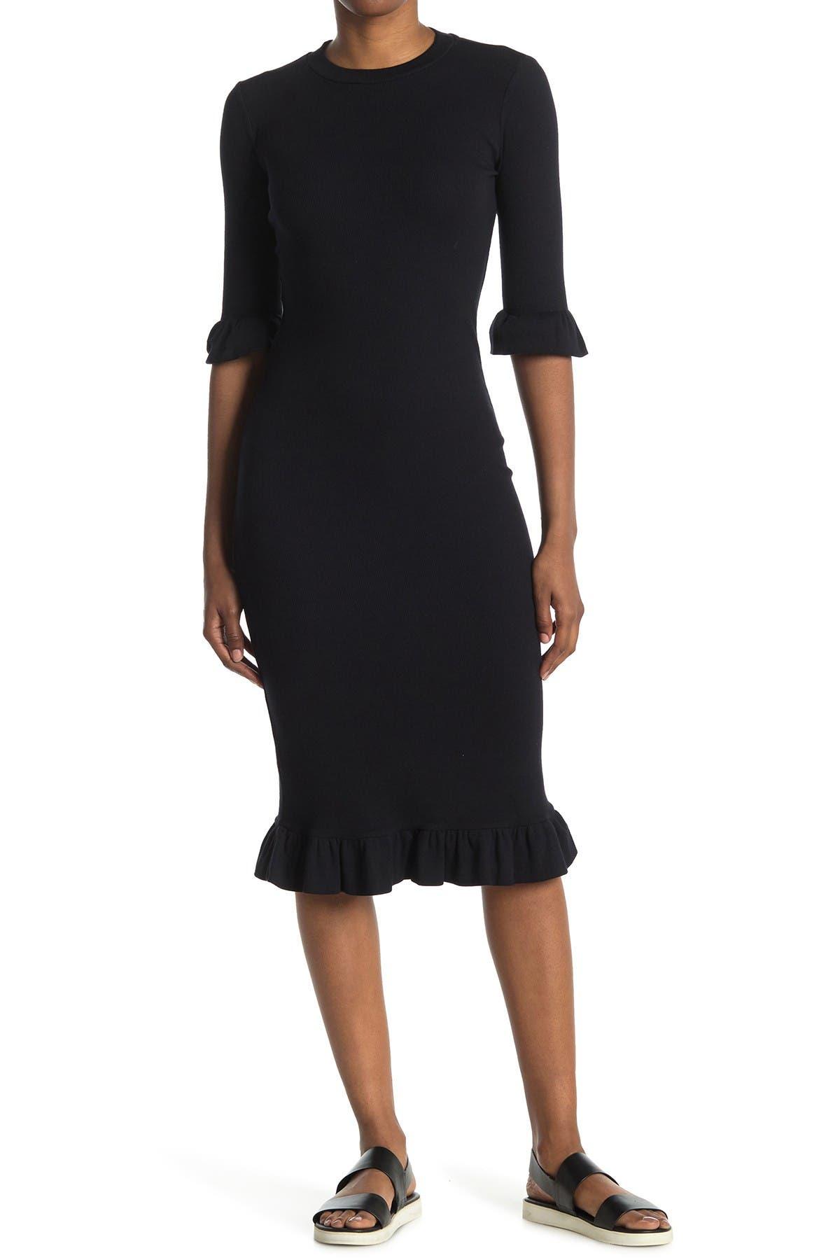 Image of Stateside Mini Rib Ruffle Midi Dress