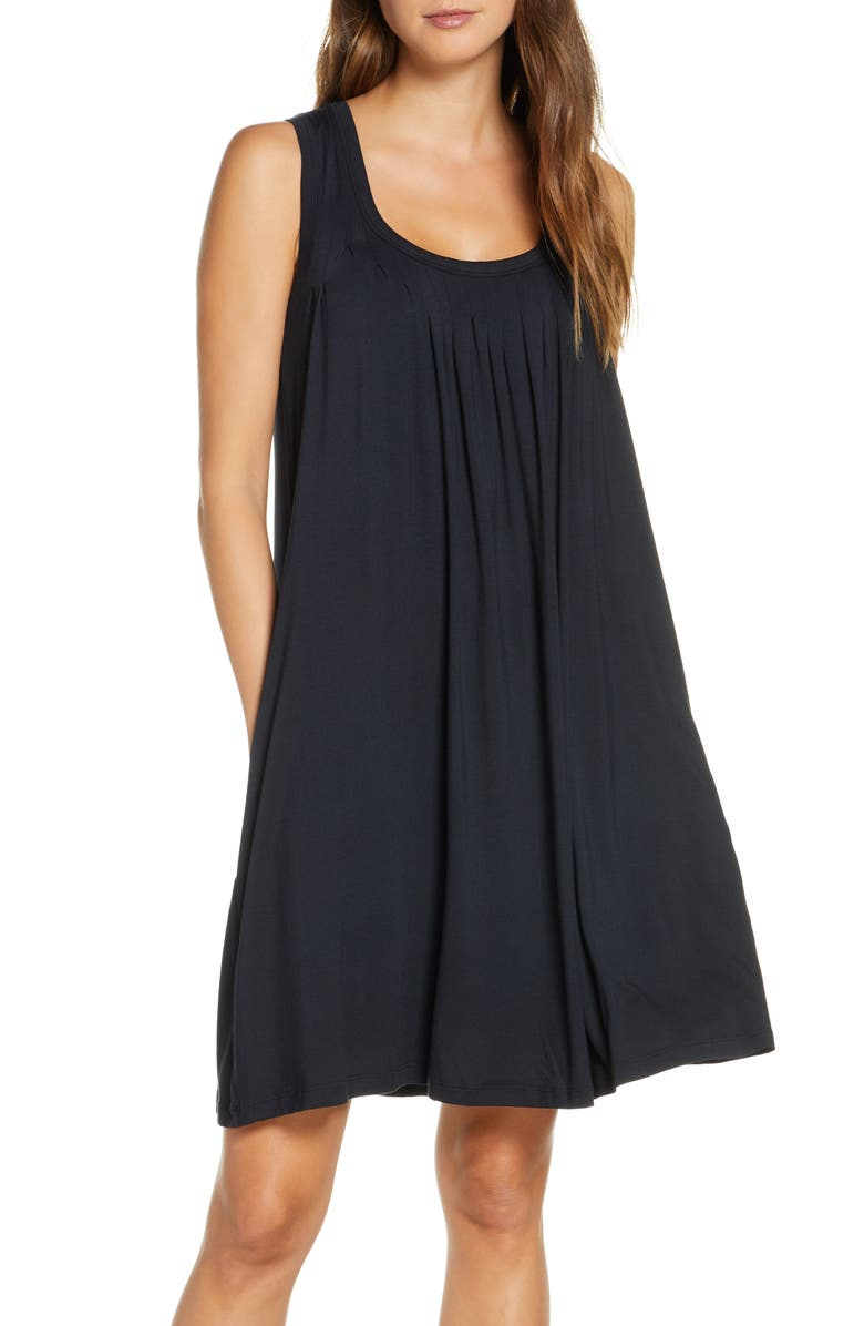 PAPINELLE Pleated Chemise, Main, color, BLACK