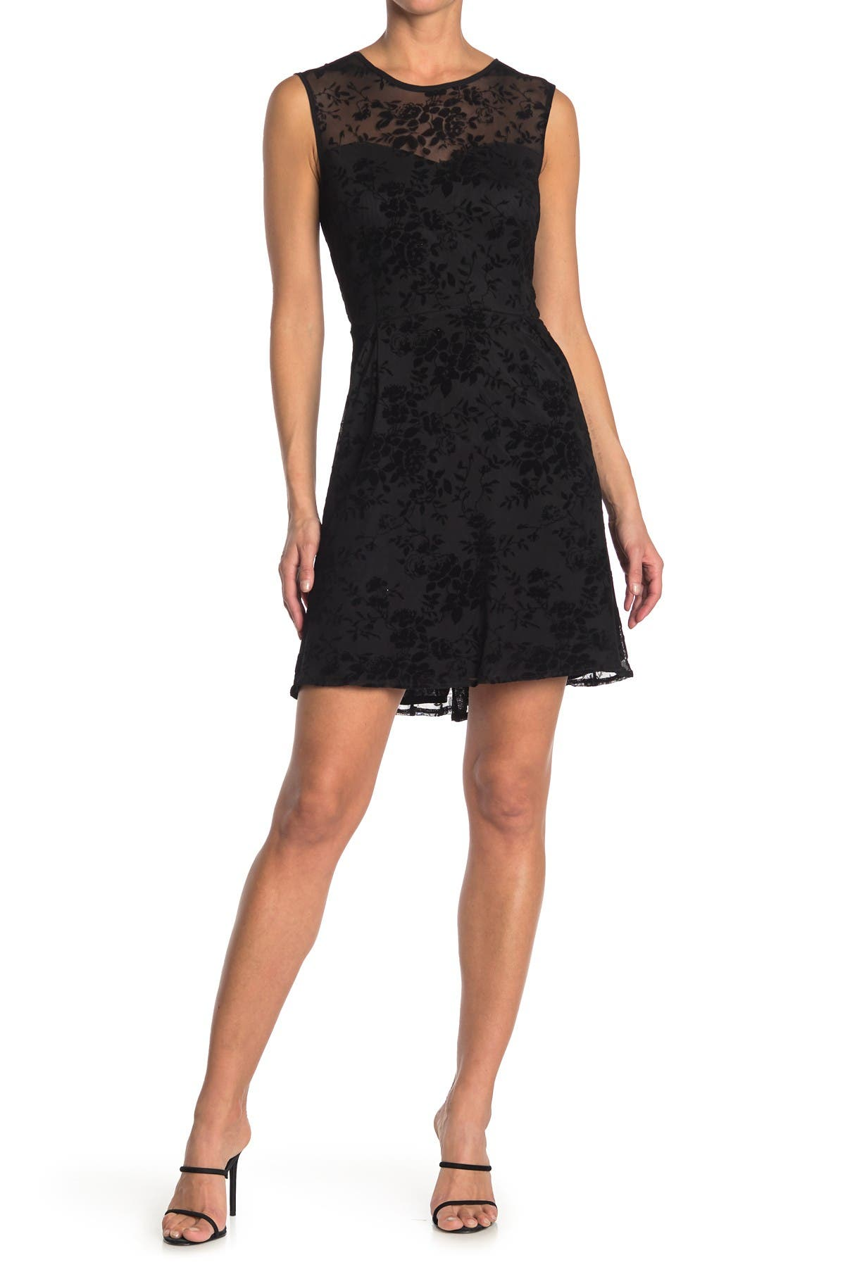 Image of Papillon Flocked Rose Fit & Flare Cocktail Dress