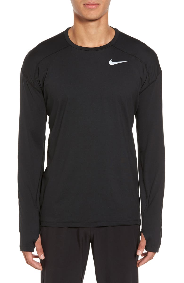 NIKE Element Dry Long Sleeve Running T-Shirt, Main, color, 010