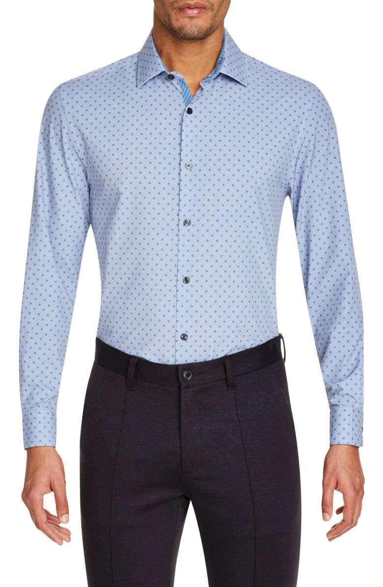 W.R.K Slim Fit Performance Stretch Floral Dress Shirt, Main, color, NAVY