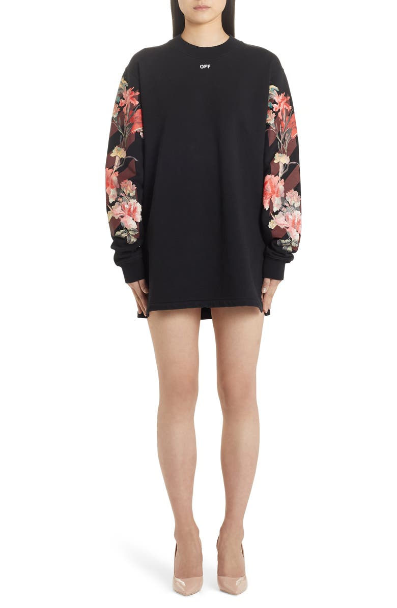 OFF-WHITE Flowers Carryover Long Sleeve Sweatshirt Dress, Main, color, BLACK BORDEAUX