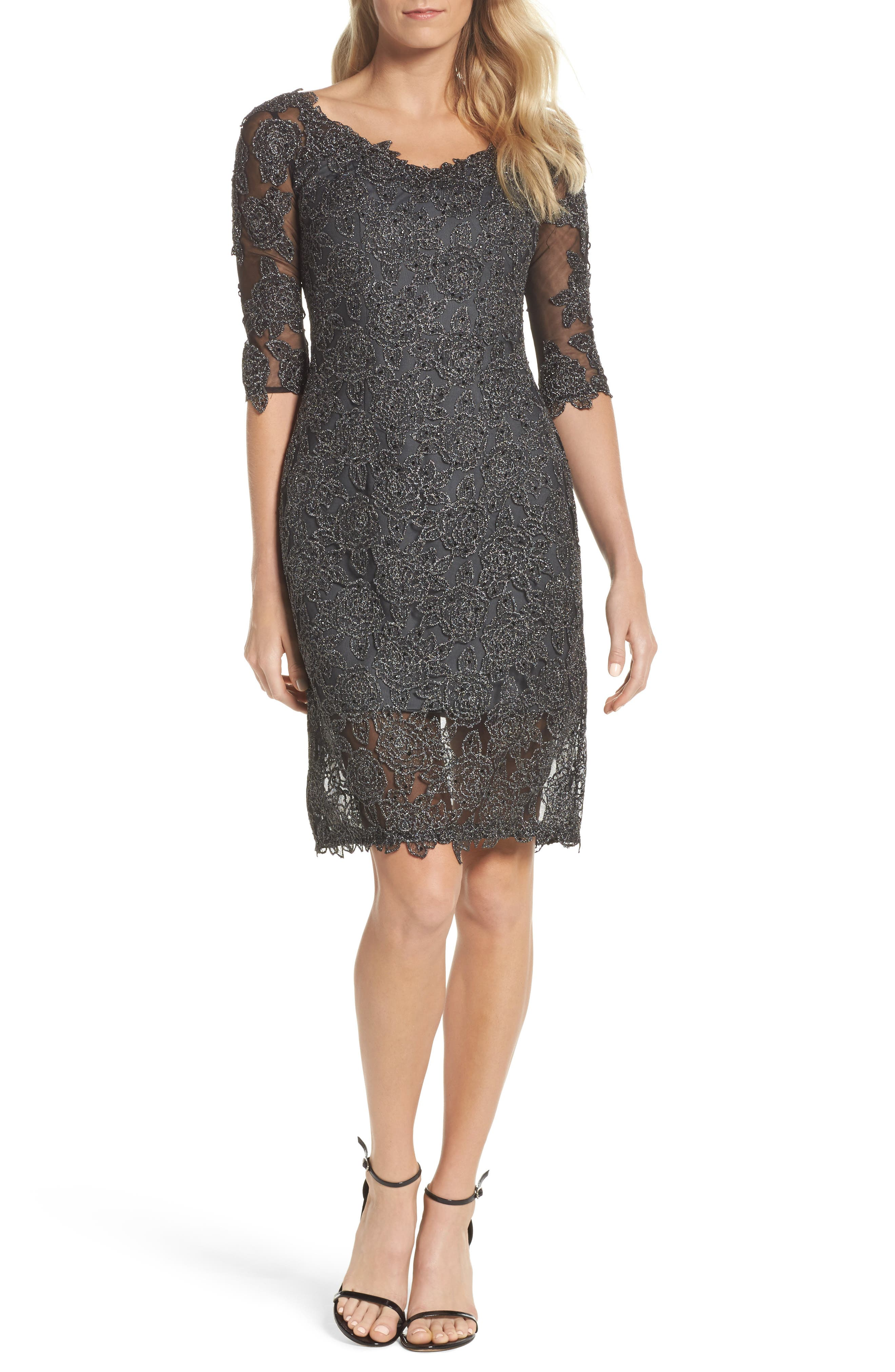 La Femme Lace Sheath Dress, Metallic
