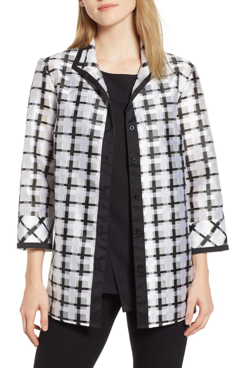 MING WANG Windowpane Check Jacket, Main, color, WHITE/ BLACK