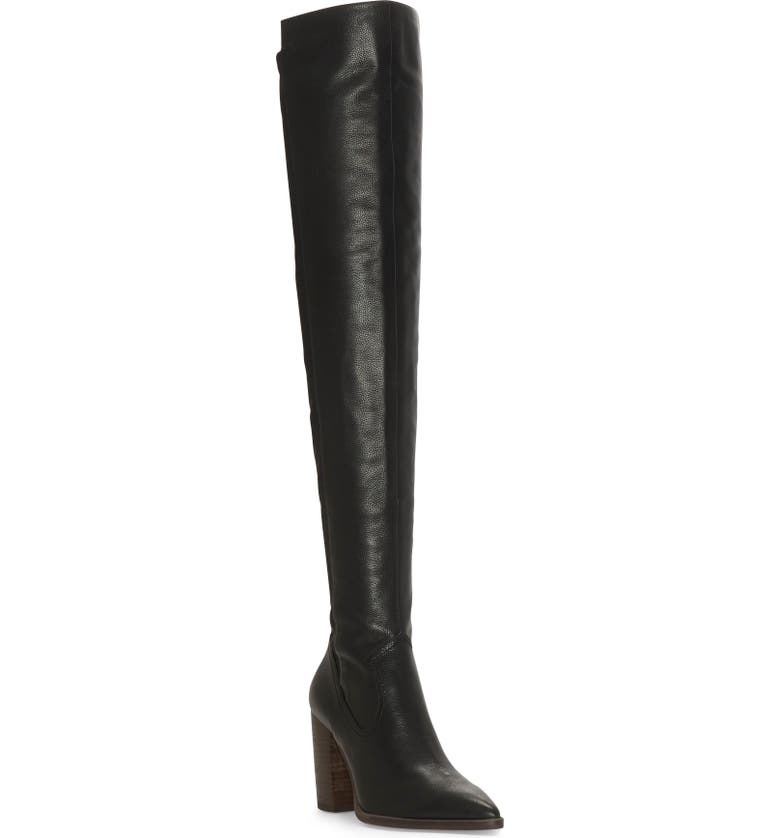 VINCE CAMUTO Cottara Over the Knee Boot, Main, color, BLACK LEATHER