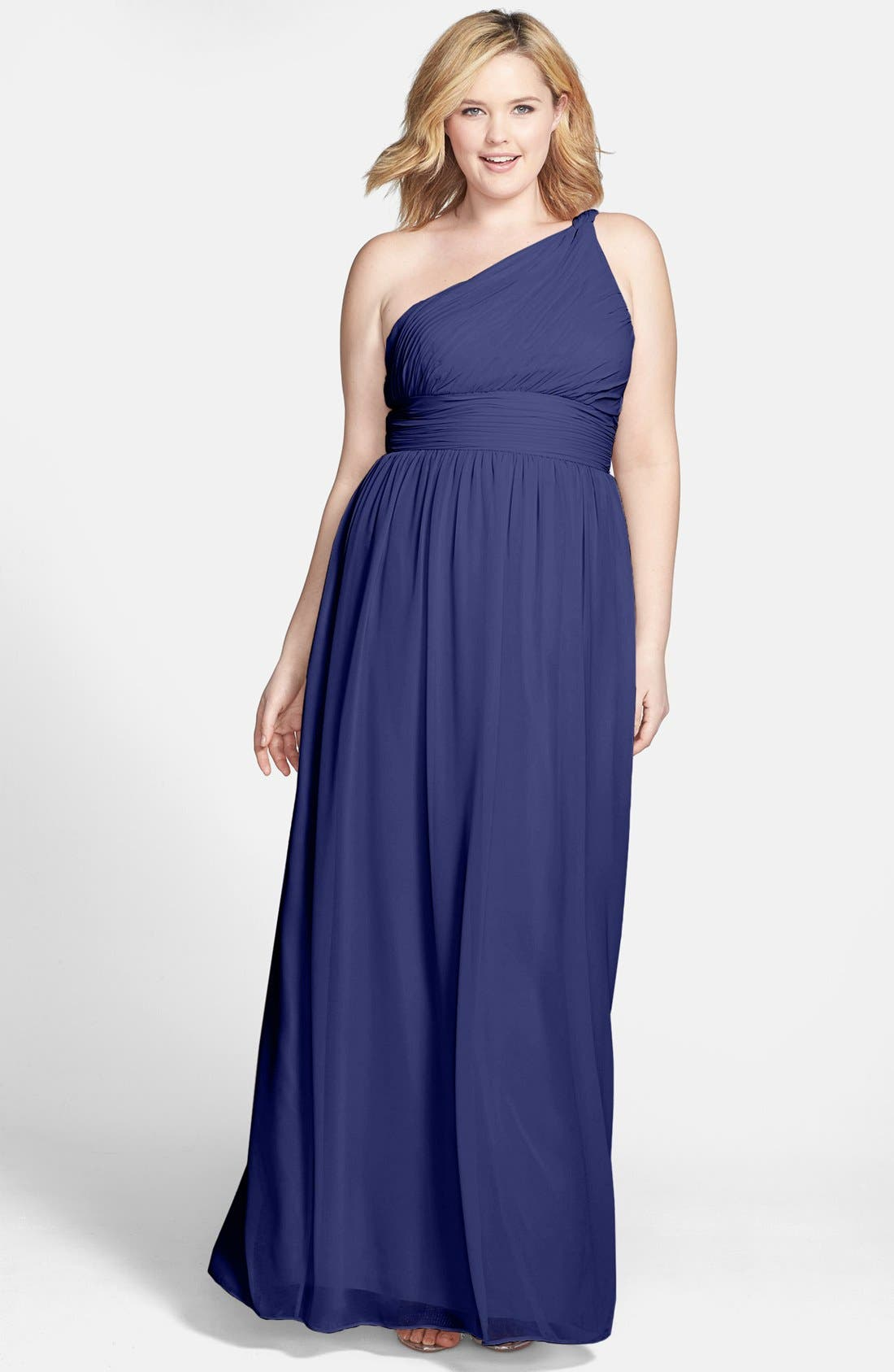 ,                             'Rachel' Ruched One-Shoulder Chiffon Gown,                             Alternate thumbnail 78, color,                             454