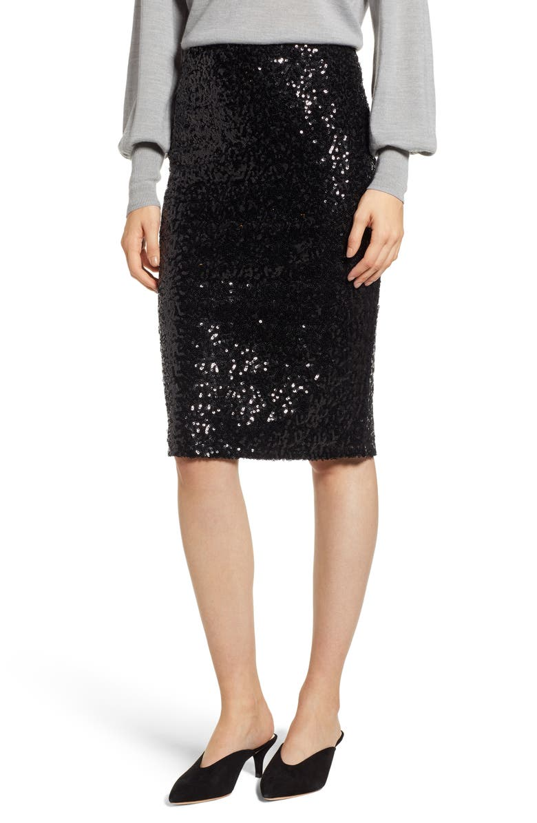 HALOGEN<SUP>®</SUP> Sequin Pencil Skirt, Main, color, 001