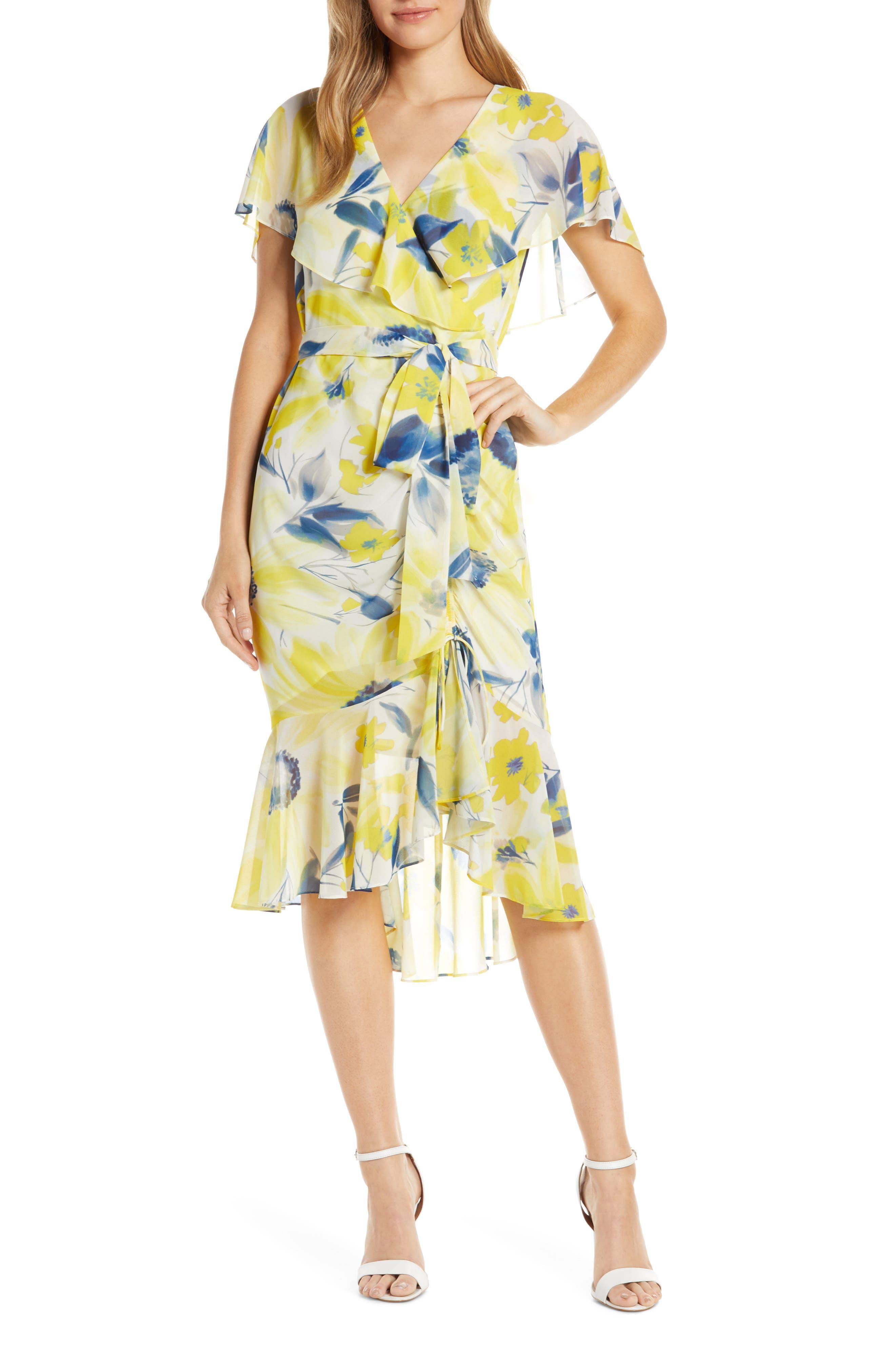 Eliza J Chiffon Faux Wrap Dress, Yellow