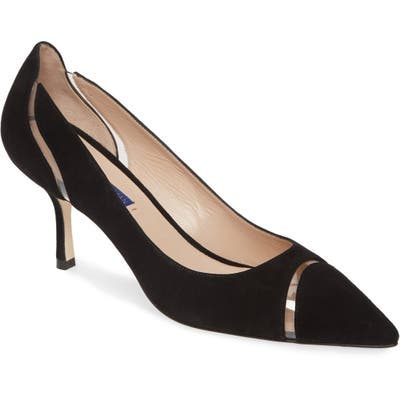 Sturat Weitzman Davia Clear Trim Pointed Toe Pump, Black