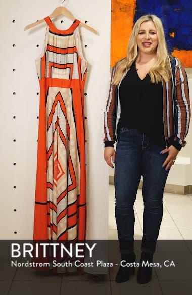 Scarf Print Crêpe de Chine Fit & Flare Maxi Dress, sales video thumbnail