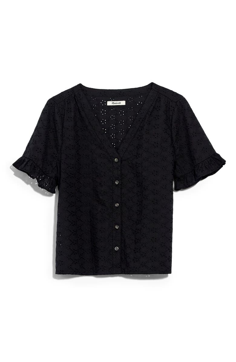 MADEWELL Eyelet Village Ruffle Sleeve Shirt, Main, color, 001