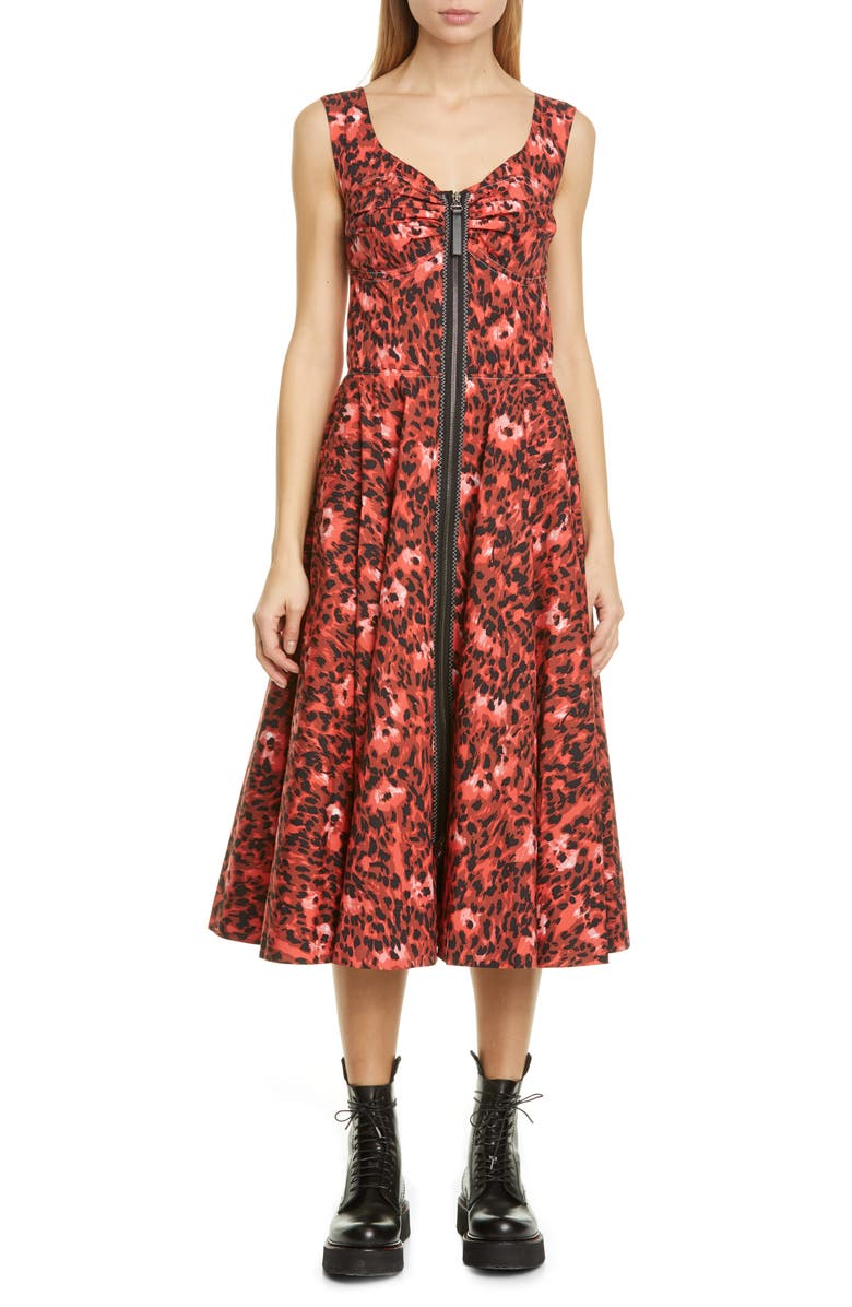 MARNI Leopard Print Stretch Cotton Dress, Main, color, INDIAN ORANGE