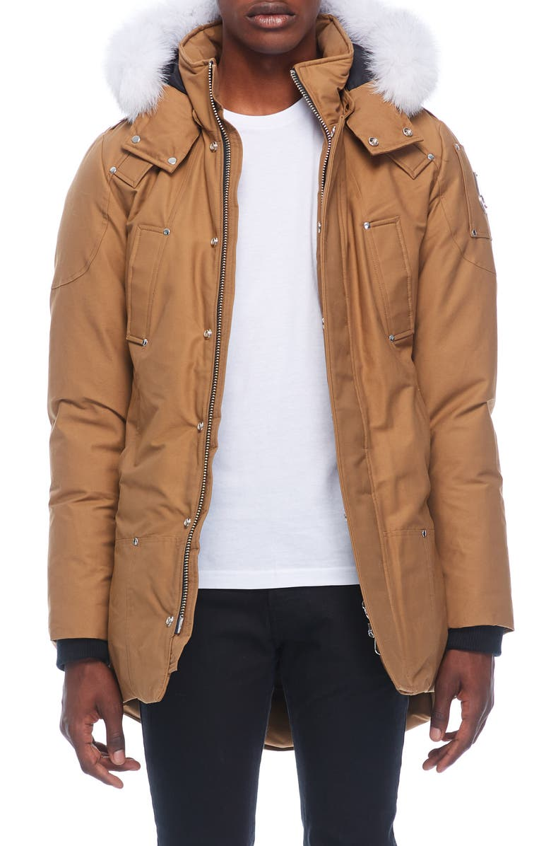 MOOSE KNUCKLES Stirling Water Repellent Down Parka with Genuine Fox Fur Trim, Main, color, WAXIE/ NATURAL FOX