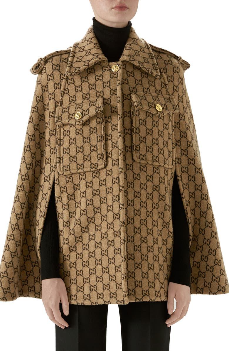 GUCCI Double G Monogram Wool Cape, Main, color, 254