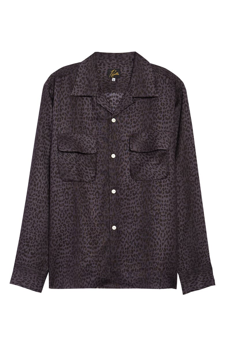 NEEDLES Cutoff Hem Button-Up Shirt, Main, color, GREY