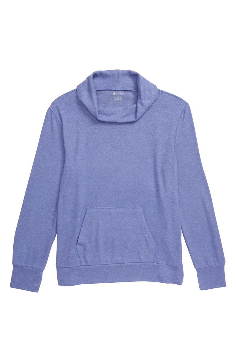 ZELLA GIRL Cowl Neck Pullover, Main, color, BLUE DENIM