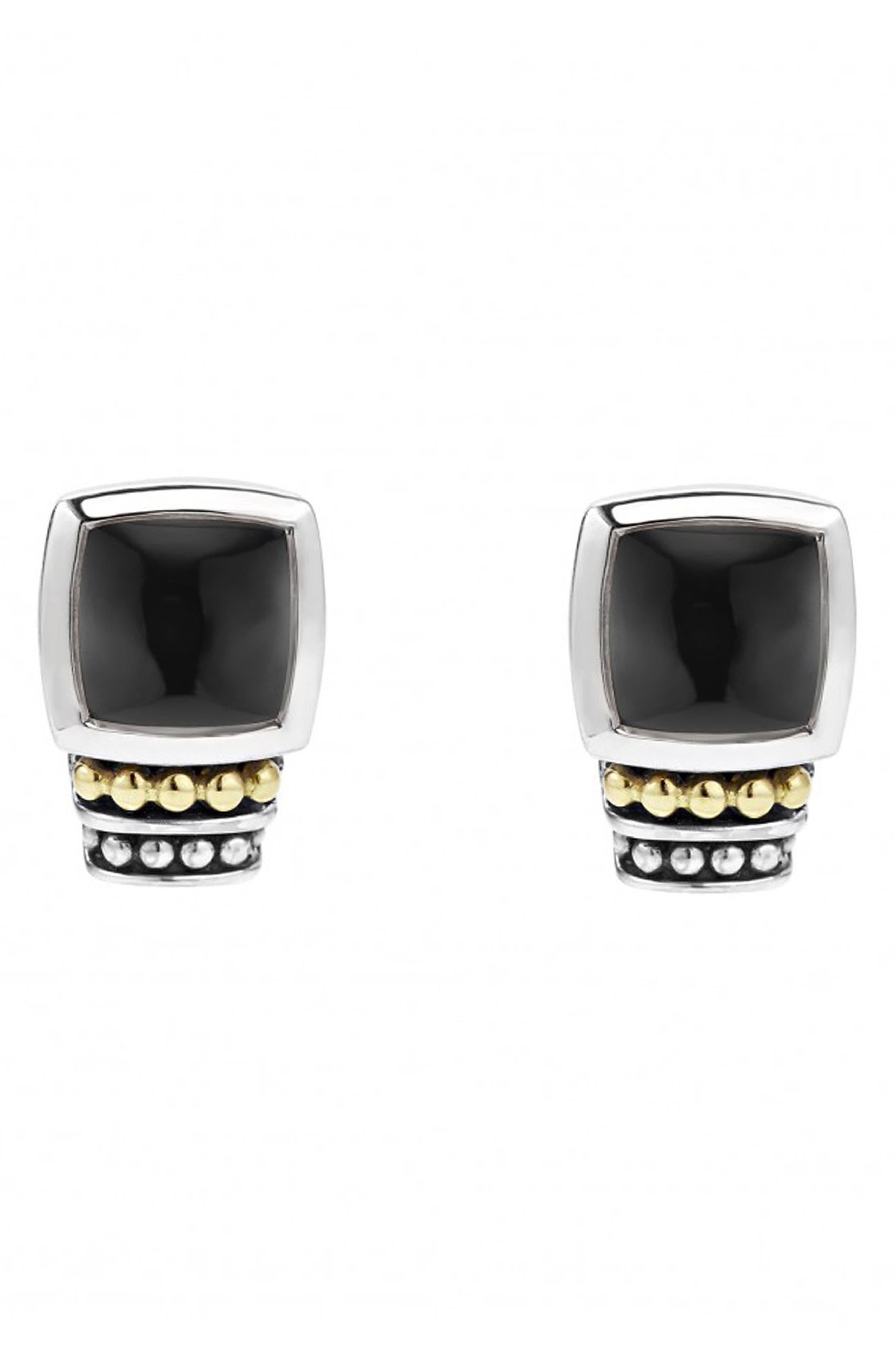 ,                             'Caviar Color' Semiprecious Stone Stud Earrings,                             Alternate thumbnail 4, color,                             BLACK ONYX