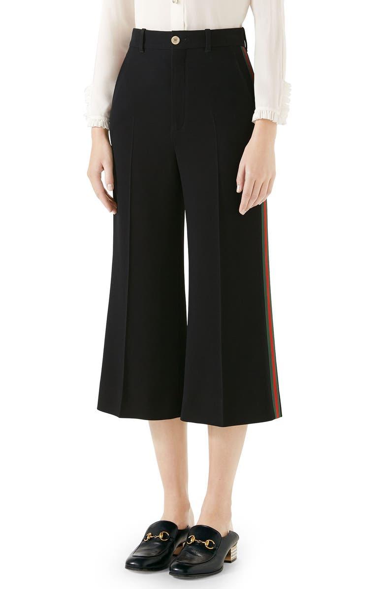 GUCCI Side Stripe Cady Wide Leg Crop Pants, Main, color, BLACK