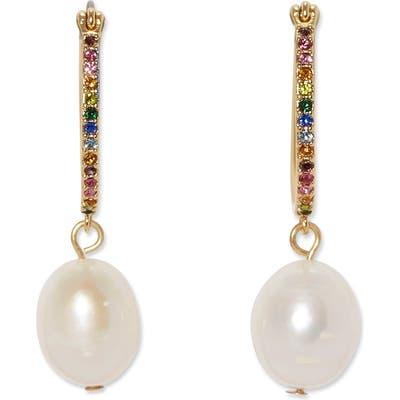 Sole Society Pearl Play Rainbow Crystal Hoop Earrings
