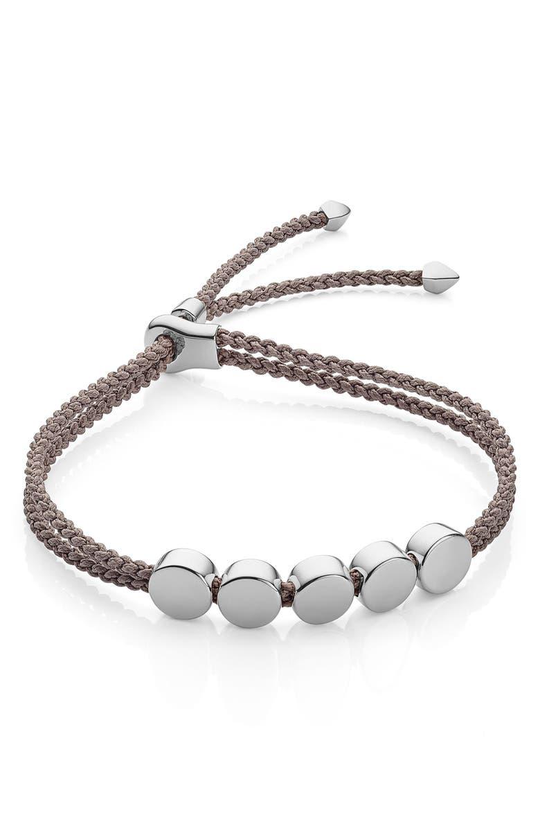 MONICA VINADER Engravable Beaded Friendship Bracelet, Main, color, MINK/ SILVER
