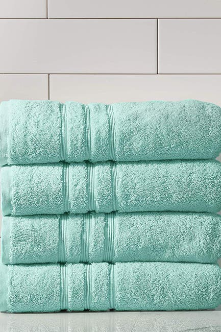 Image of Modern Threads Manor Ridge Turkish Cotton 700 GSM Bath Towel - Set of 4 - Aqua