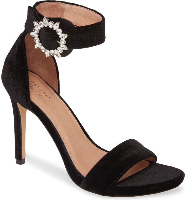 HALOGEN<SUP>®</SUP> x Atlantic-Pacific Alesia Jewel Buckle Sandal, Main, color, BLACK VELVET