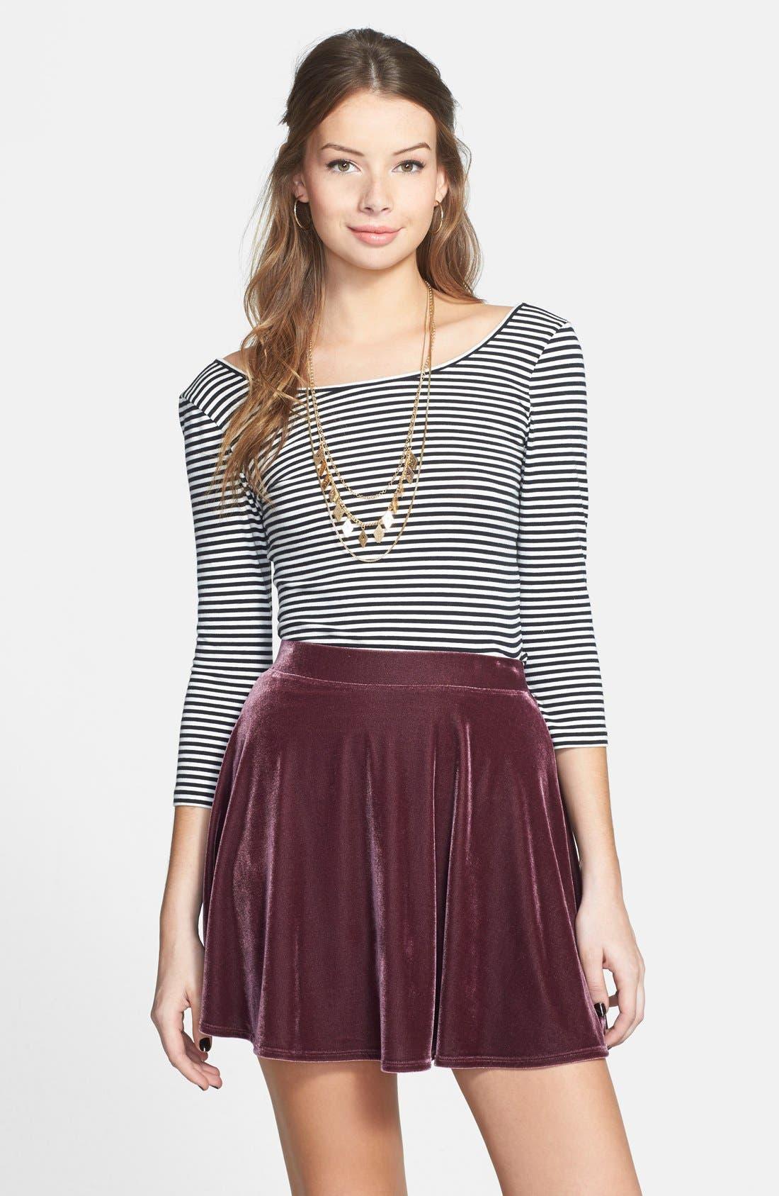 ,                             Velour Skater Skirt,                             Main thumbnail 7, color,                             938
