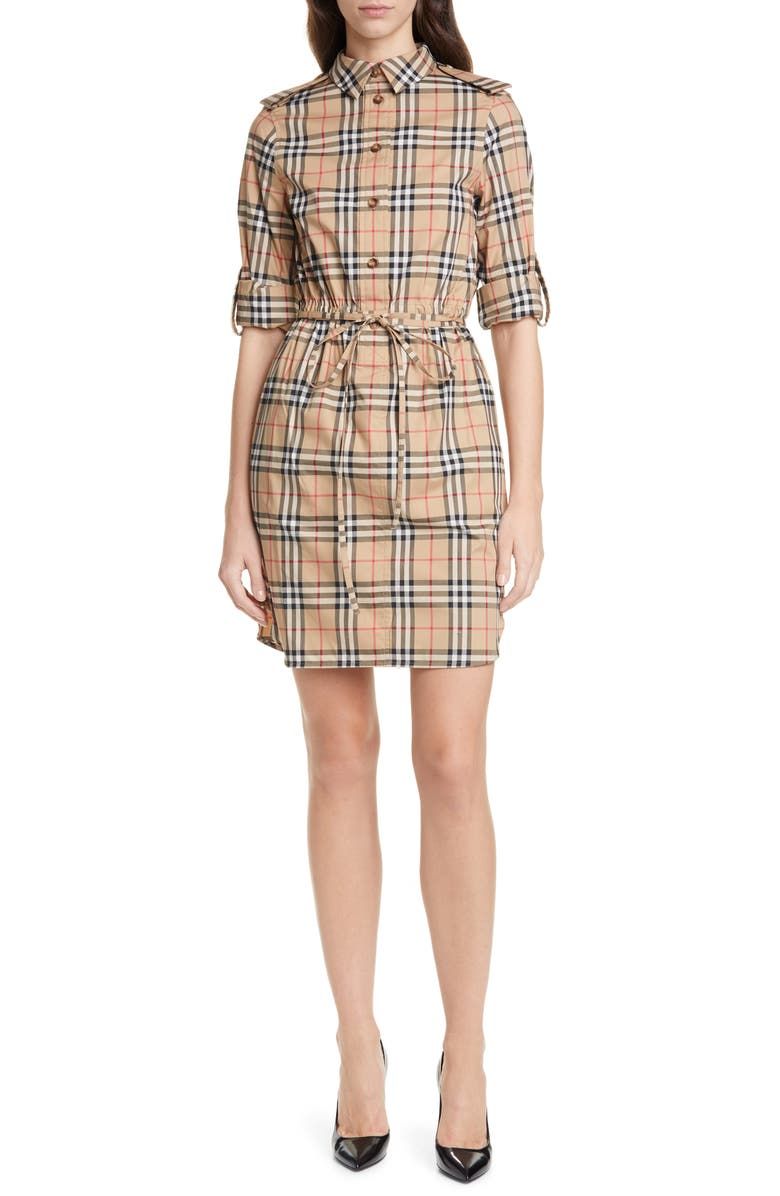 BURBERRY Vintage Check Stretch Cotton Long Sleeve Shirtdress, Main, color, ARCHIVE BEIGE IP CHK