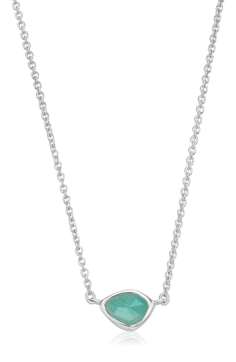 MONICA VINADER Siren Mini Nugget Pendant Necklace, Main, color, SILVER/ AMAZONITE