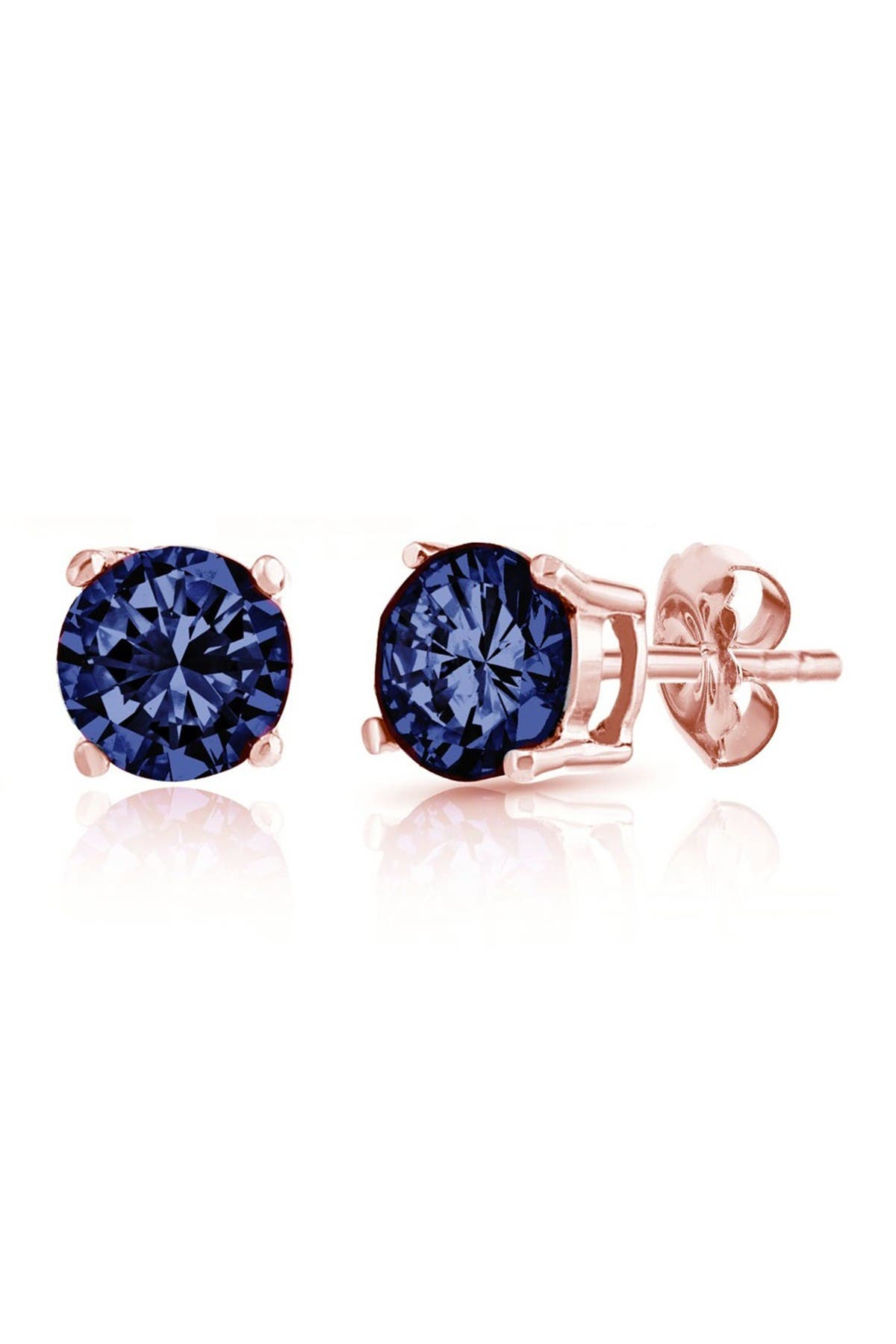 Image of Best Silver Inc. 14K Rose Gold-Plated 6mm London Blue CZ Stud Earrings