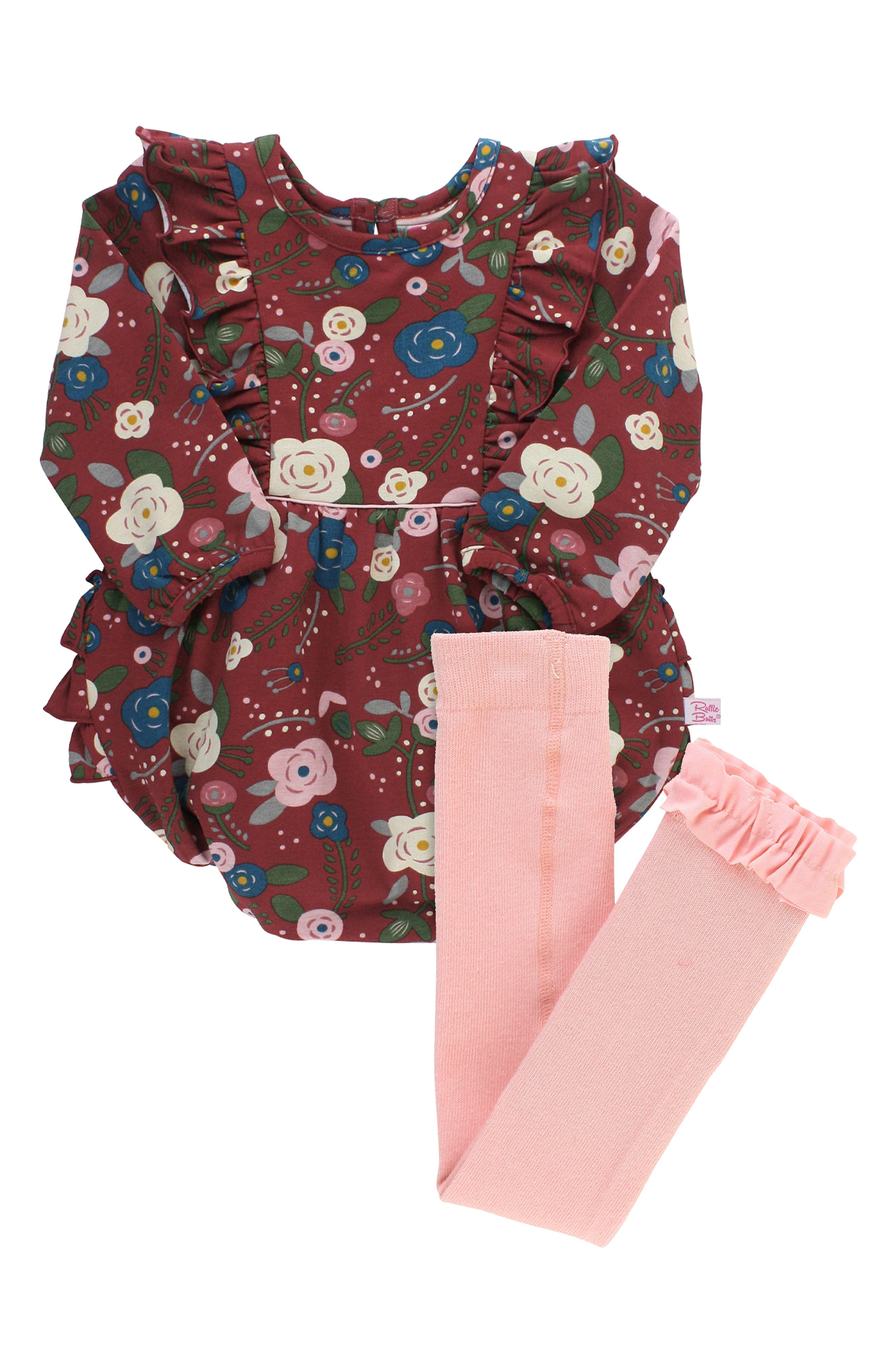 Bright flowers and pretty ruffles enliven a knit cotton romper that pairs adorably with ruffle-trimmed tights that offer plenty of stretch for comfort. Style Name: Rufflebutts Budding Beauty Bubble Romper & Tights Set (Baby). Style Number: 6095643. Available in stores.