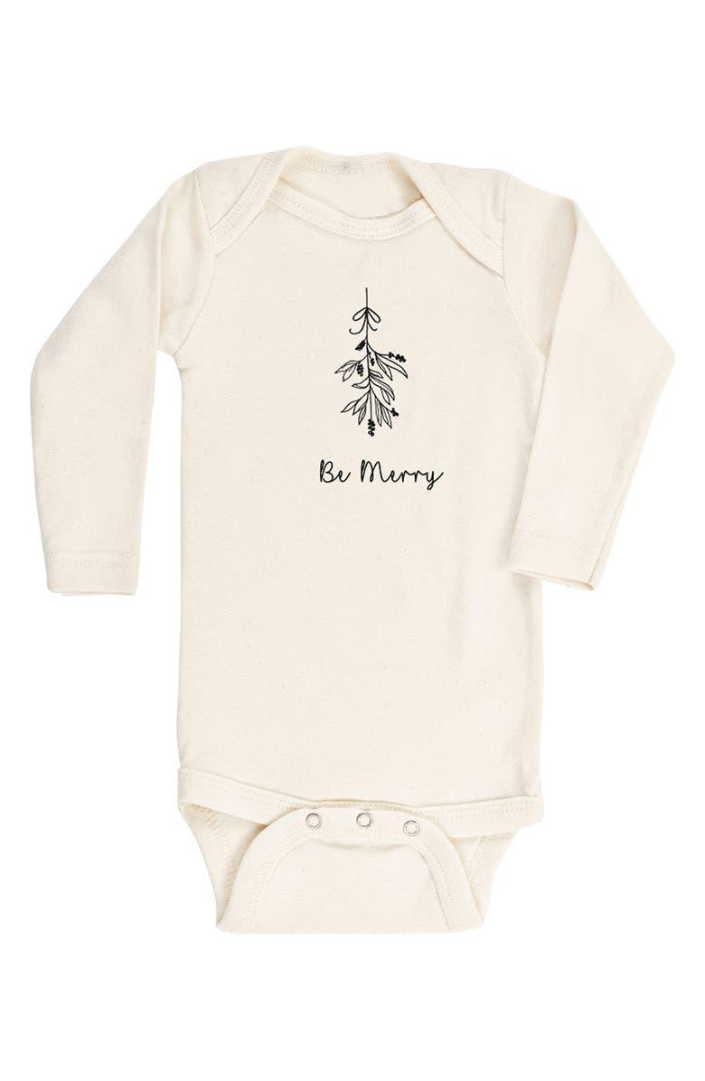 TENTH & PINE Be Merry Mistletoe Organic Cotton Bodysuit, Main, color, 900