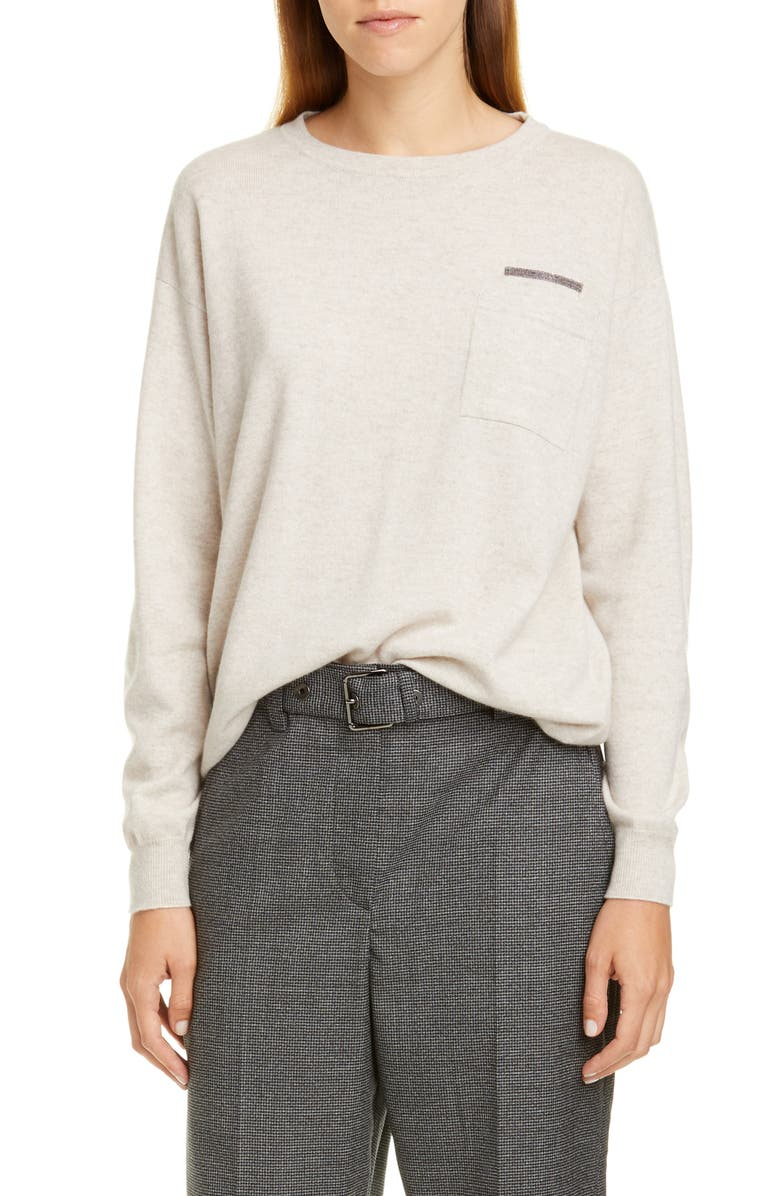 BRUNELLO CUCINELLI Monili Trim Double Pocket Cashmere Sweater, Main, color, OYSTER