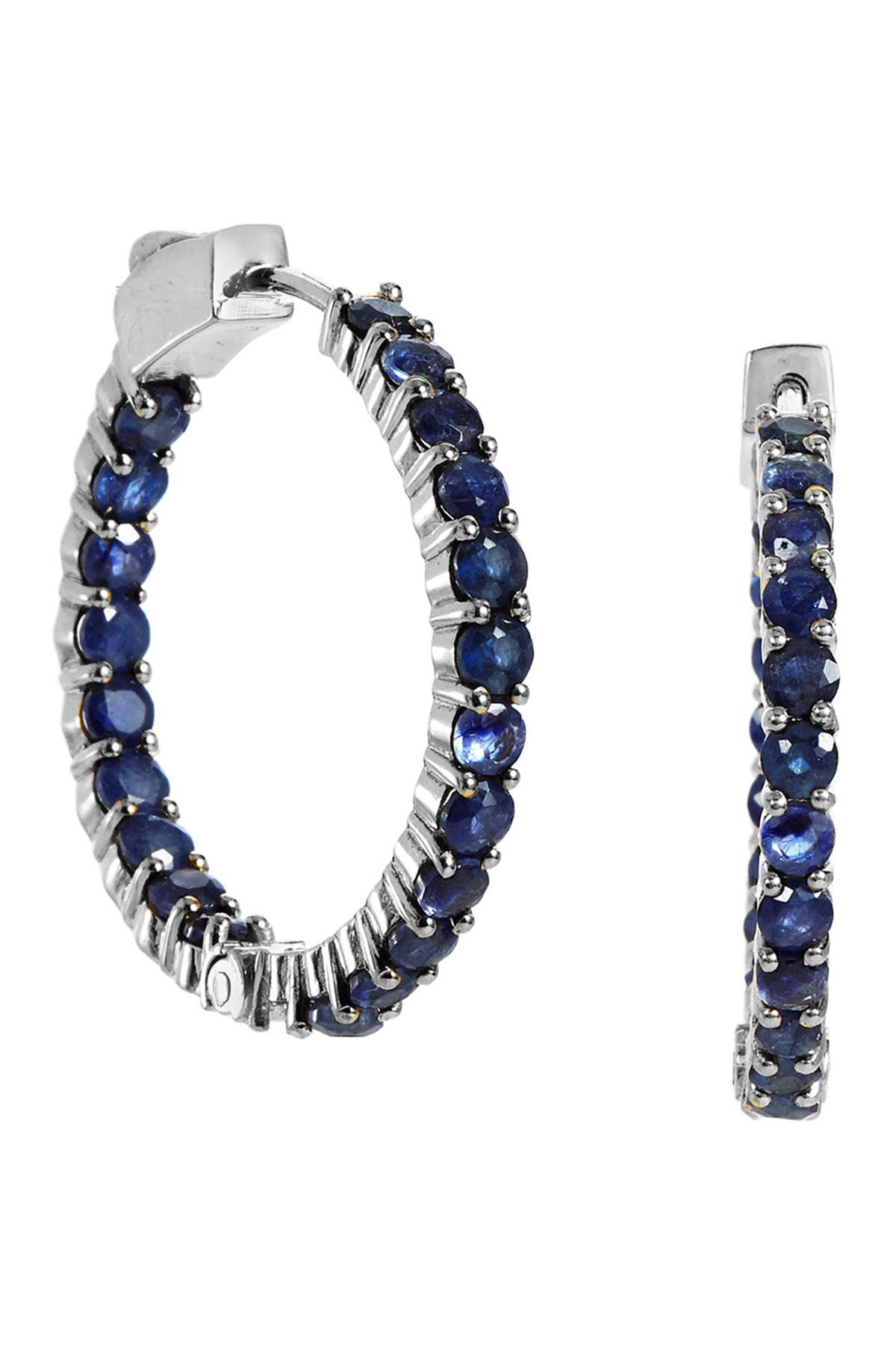 Image of Savvy Cie Sterling Silver Sapphire Inside Out 30mm Hoop Earrings