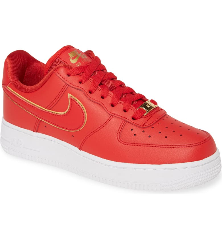 NIKE Air Force 1 '07 ESS Sneaker, Main, color, GYM RED/ WHITE/ METALLIC GOLD