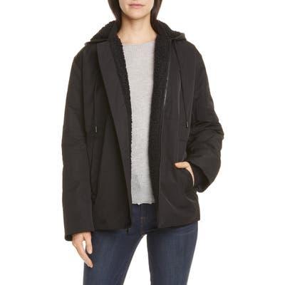Vince Quilted Fleece Lined Hooded Jacket, Black