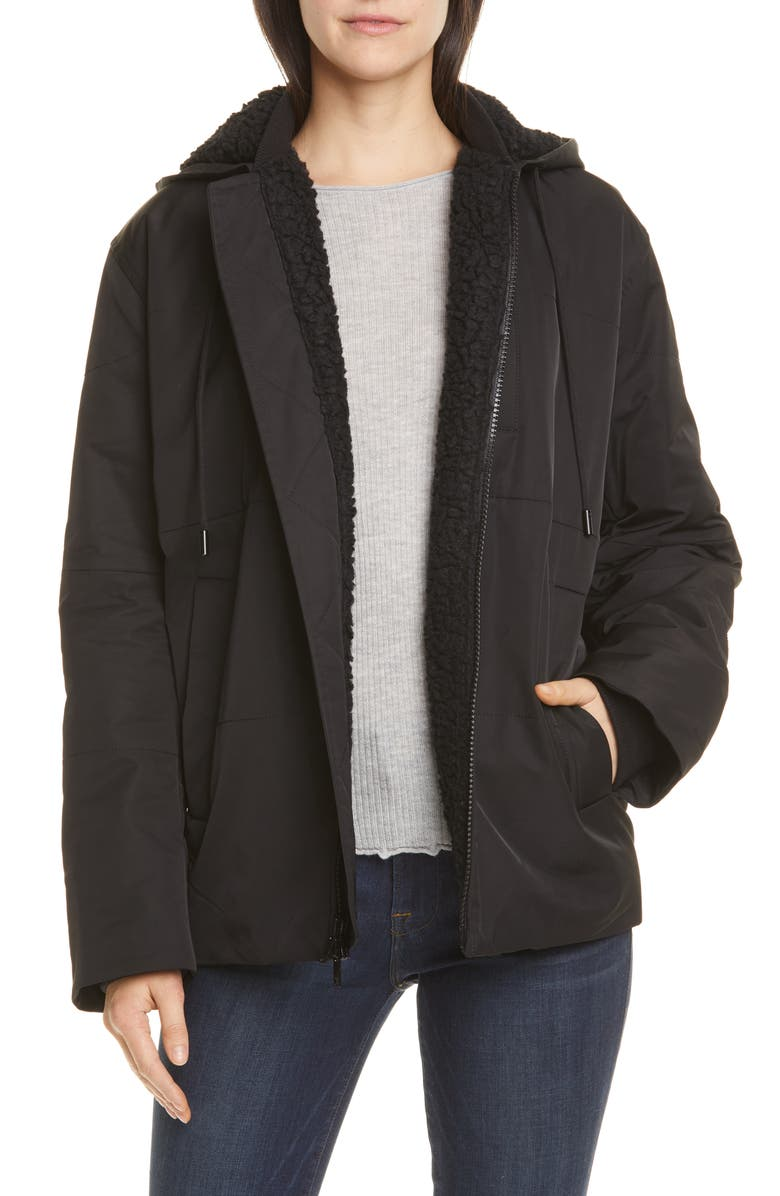 VINCE Quilted Fleece Lined Hooded Jacket, Main, color, BLACK
