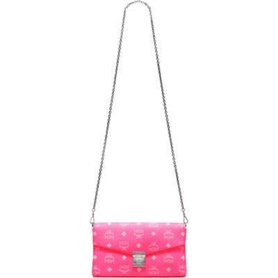 Mcm Millie Monogrammed Leather Crossbody Bag - Pink