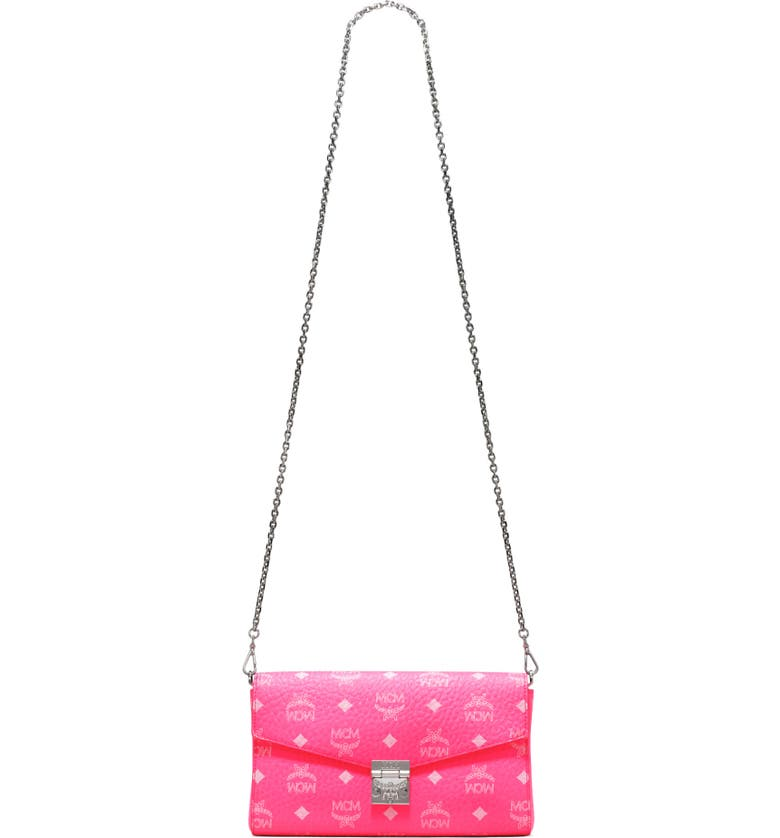 MCM Millie Monogrammed Leather Crossbody Bag, Main, color, NEON PINK