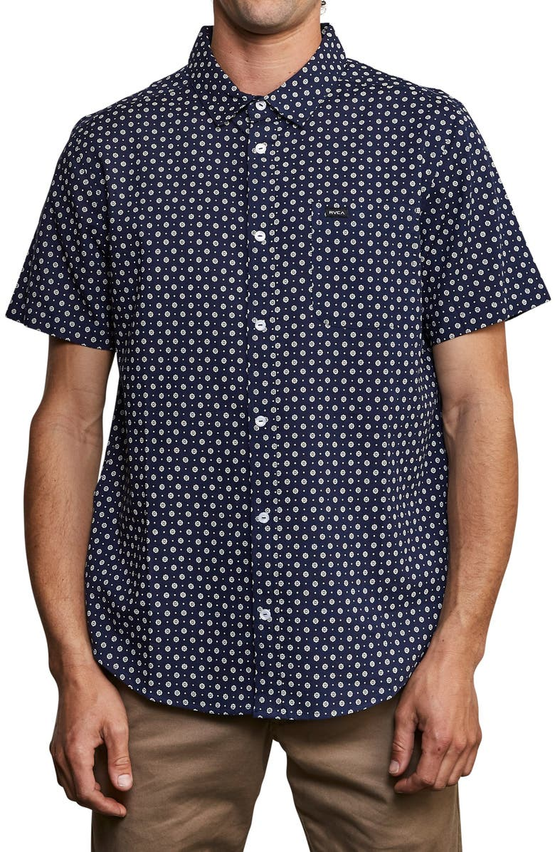 RVCA Medallion Graphic Woven Shirt, Main, color, FEDERAL BLUE