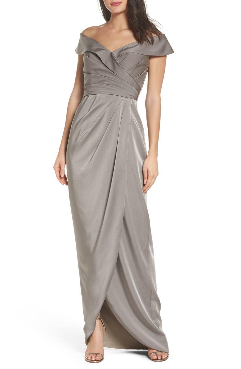LA FEMME Surplice Off the Shoulder Gown, Main, color, PEWTER