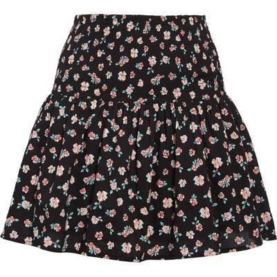 Bp. Floral Print Smocked Miniskirt, Black