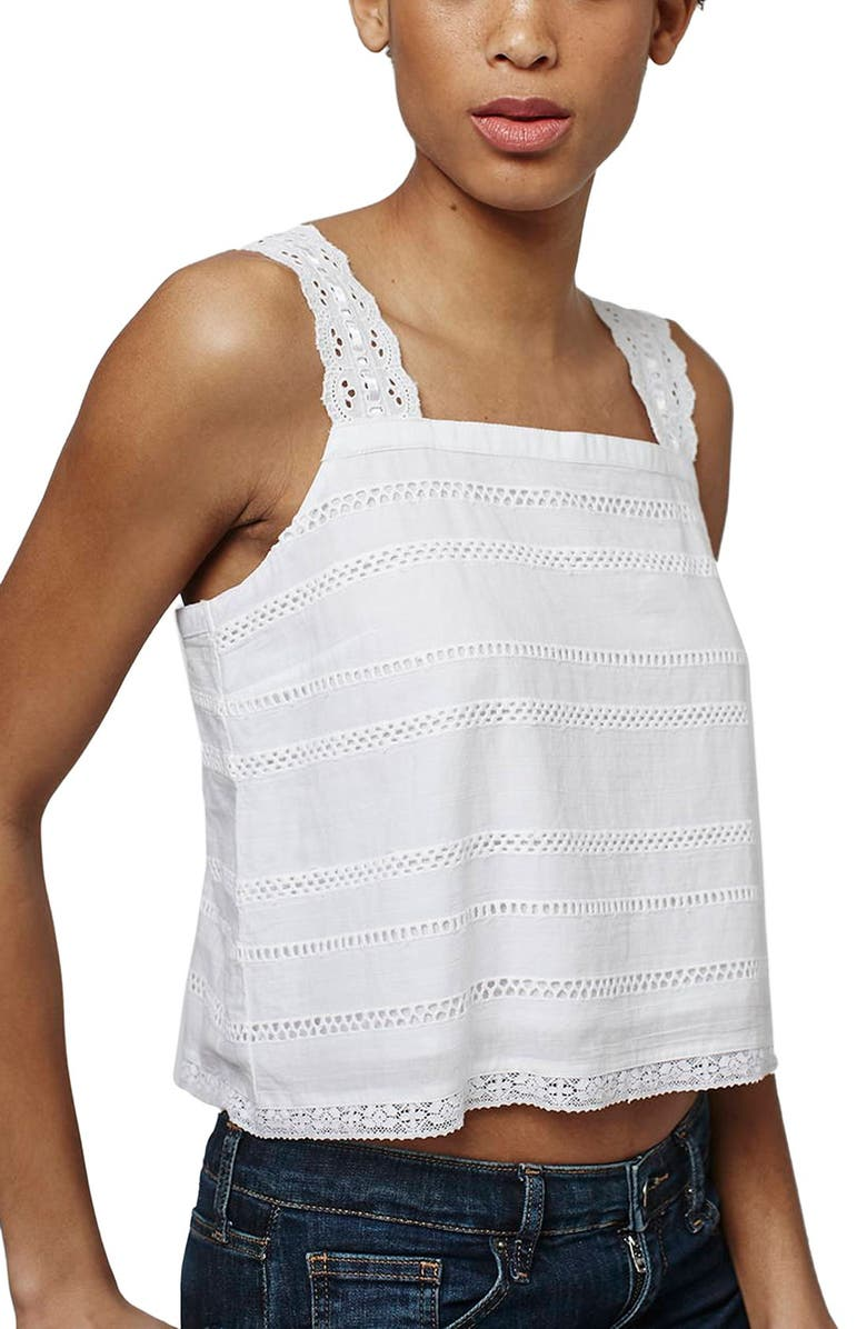 TOPSHOP Broderie Square Neck Sun Top, Main, color, 100