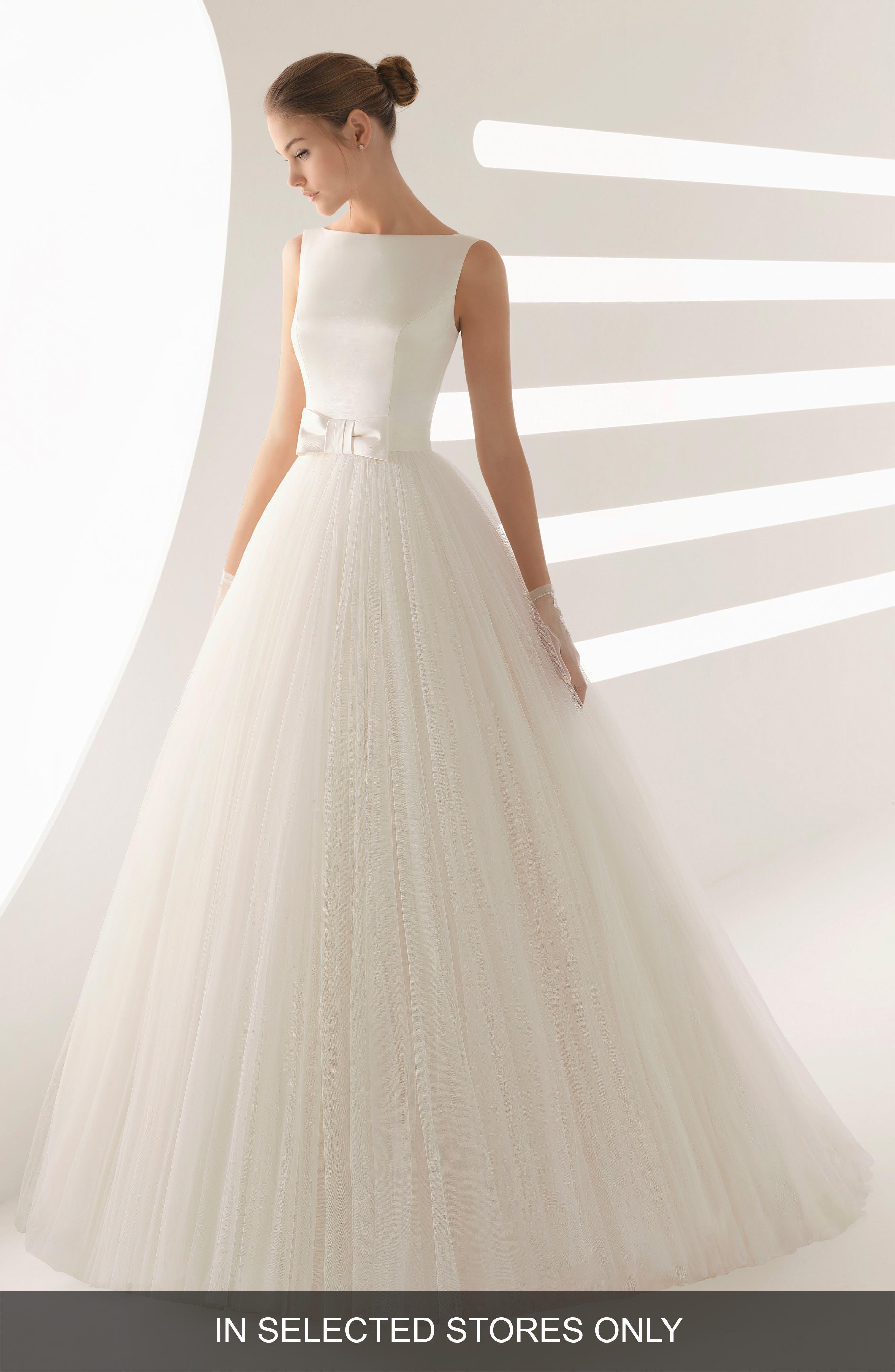 Rosa Clara Aida Satin & Tulle Ballgown, Size - Ivory
