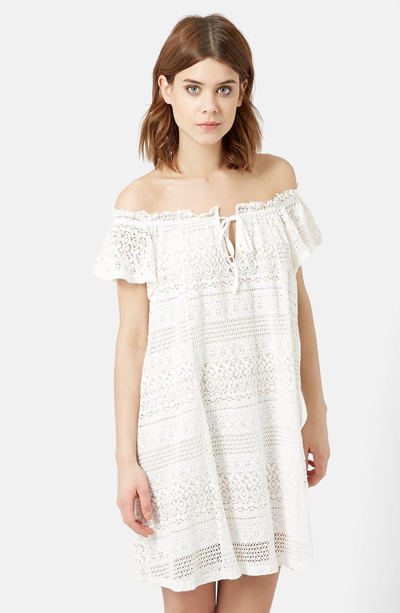 TOPSHOP Lace Off the Shoulder Dress, Main, color, 100